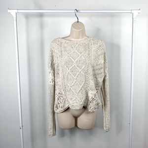 Hollister Chunky Cable Knit & Lace Cream Sweater